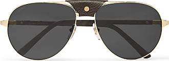 Cartier Aviator-style Leather-trimmed Gold-tone Sunglasses - Gold