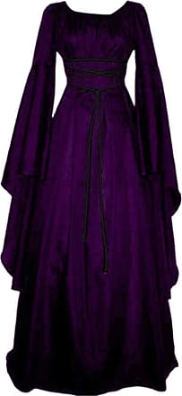 Yonglan Womens Long Dress Round Neck Solid Color Irregular Vintage Long Sleeve Dress Party Dress Purple S