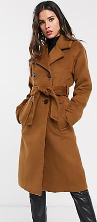 Warehouse textured coat with double breasted buttons in brown-Tan
