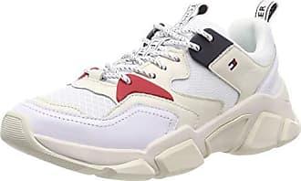 49968ba052303c Tommy Hilfiger Damen WMN Chunky Mixed Textile Trainer Sneaker Weiß (White  100) 38 EU