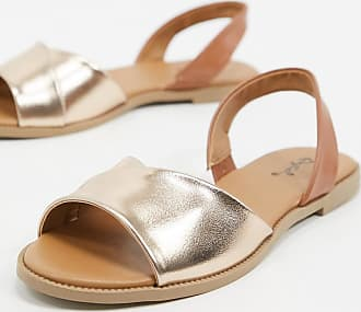 Qupid Qupid slingback flat sandals in rose gold-Copper