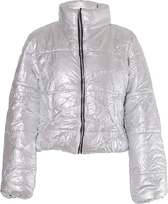 Noroze Womens Crop Jacket Padded Puffer Coat Cropped (Silver, 10)