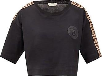 Fendi Logo-jacquard Stripe Cotton Cropped T-shirt - Womens - Black