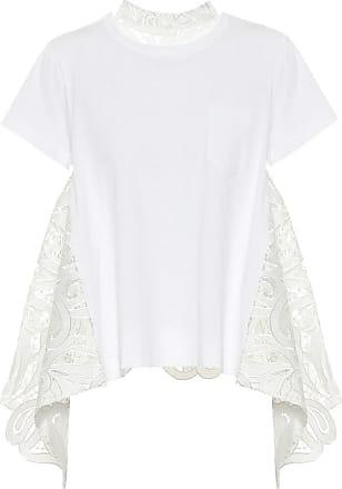 sacai T-Shirt aus Baumwolle mit Spitze