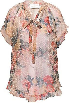 Zimmermann Zimmermann Woman Pussy-bow Floral-print Fil Coupé Silk-blend Blouse Antique Rose Size 1