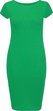 Top Fashion18 Ladies Plus Plain Jersey Stretch Crew Neck Bodycon Cap Sleeve Midi Dress 8-26 Jade Green