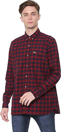Lacoste Camisa Lacoste Regular Xadrez Vermelha/Azul-marinho