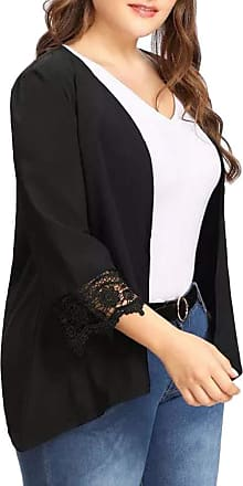 FNKDOR Womens Plus Size Lace Open Front Loose Causal Large Size Solid Lightweight Kimono Cardigan (Black,3XL)