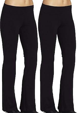 iLoveSIA Womens Bootleg Workout Pants 2Pack Size M 28.5inch Inseam Black+Black