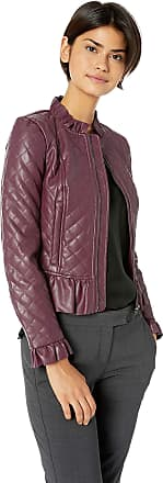 French Connection Womens Vegan Leather Jackets Faux, Plum Noir Ruffle, 14