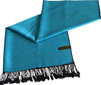 CJ Apparel Turquoise & Black Solid Colour Design Shawl Wrap Pashmina Seconds NEW(Size: One Size)