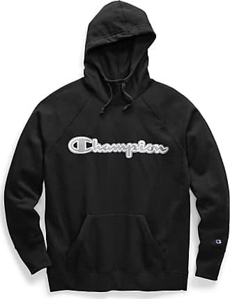 Champion Womens Powerblend Hoodie Hooded Sweatshirt, Black-Applique, S