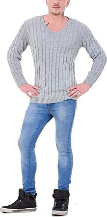 21Fashion Mens Long Sleeve Chunky Cable Knitted Jumper Adults Fancy V Neck Casual Sweater Top Grey 4X Large