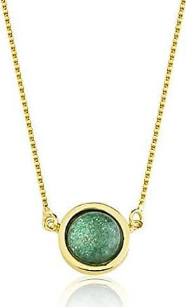 Toque De Joia Colar semijoia pedra redonda quartzo verde