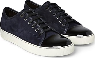Lanvin Cap-toe Suede And Patent-leather Sneakers - Midnight blue