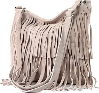 modamoda.de Ital. Leather bag Shoulderbag Shoulder bag Ladiesbag Wild leather T125, Colour:pink Beige