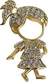 Prado Joias Pingente Em Ouro 18k Menina Filha Grande Com Diamantes