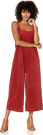 Volcom Womens Oh My Cord Wide Leg Crop Jumpsuit - red - Medium