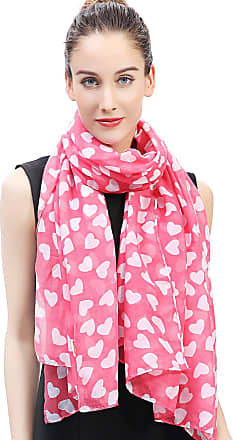 Lina & Lily Hearts Print Womens Scarf Valentines Mothers Day Gift Ideas (Pink and White)