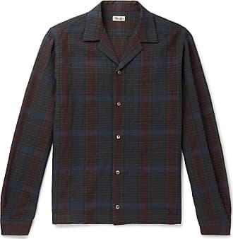 Camoshita Camp-collar Checked Wool And Linen-blend Overshirt - Navy