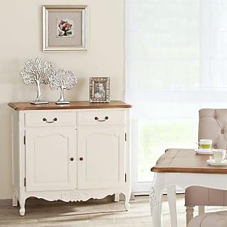 Dekoria Kommode Dorothee mit 2 Schubladen und 2 Türen, natural & white