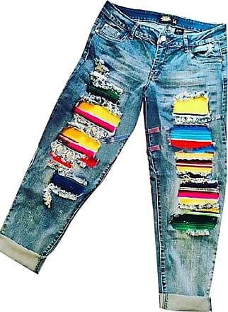 Hellomiko Women Denim Pants Rainbow Hole Straight Leg Daily Wear Casual High Waist