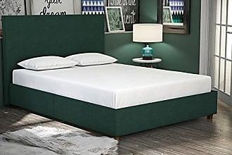 Dorel Home Products DHP Alexander Upholstered Platform Bed Frame, Green Linen, Full