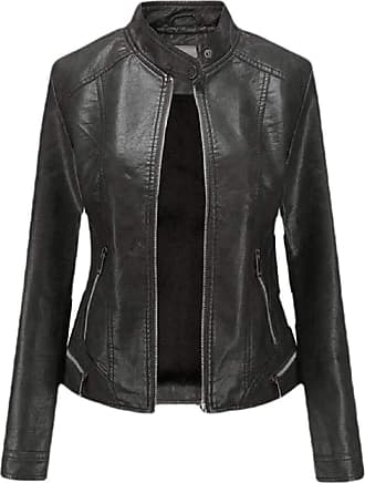 VITryst Womens PU Leather Solid Slim Fit Stand Collar Zipper Bomber Outwear Jackets Motor Jacket Coat,Black,X-Small