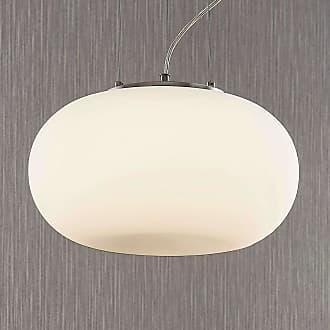 Lindby Lámpara colgante LED vidrio opalino Aglaja, blanca