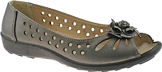 Boulevard Ladies Pewter Punched Open Toe Flower Casual Shoe - Pewter - size UK Ladies Size 7