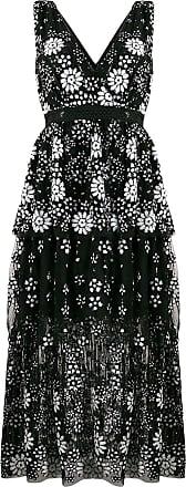 Self Portrait V-neck floral sequin dress - Black