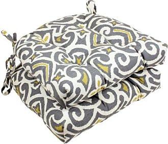 Pillow Perfect Yellow Damask Reversible Chair Pad, Gray/Greenish