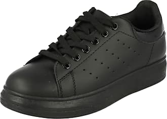 Spot On Ladies Casual Trainers - Black Synthetic - UK Size 7 - EU Size 40 - US Size 9