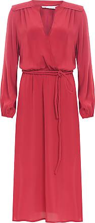 Ateen Vestido Seda Decote Com Faixa - Vermelho