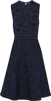 833fa399372 Carolina Herrera Carolina Herrera Woman Metallic Wool-blend Jacquard Dress  Navy Size XXL