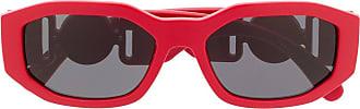 Versace Óculos de sol retangular com placa de logo - Vermelho