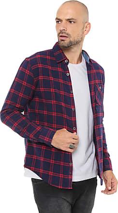 Red Nose Camisa Red Nose Reta Xadrez Azul-marinho/Vermelho
