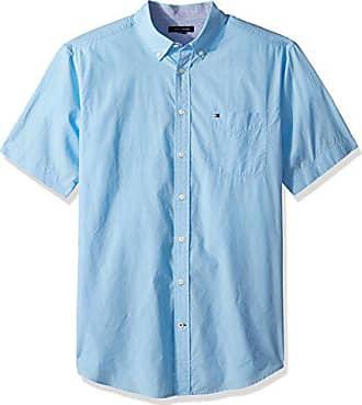 5eb3c44b Tommy Hilfiger Mens Big and Tall Button Down Short Sleeve Shirt Maxwell,  Blue Bell,