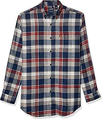 Chaps Mens Classic Fit Flannel Plaid Casual Shirt Navy Green Red Tartan