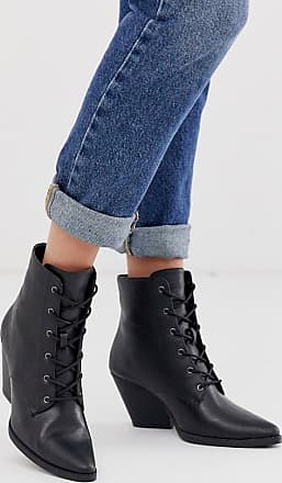 Qupid Qupid lace up western ankle boots-Black