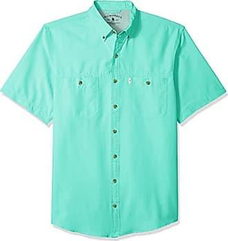 G.H. Bass & Co. Mens Big and Tall Explorer Short Sleeve Button Down Fishing Shirt, Aqua Splash 1, 3X-Large