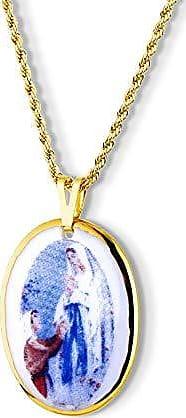 Design Medalhas Pingente Medalha Nossa Senhora Lourdes Ouro pequena