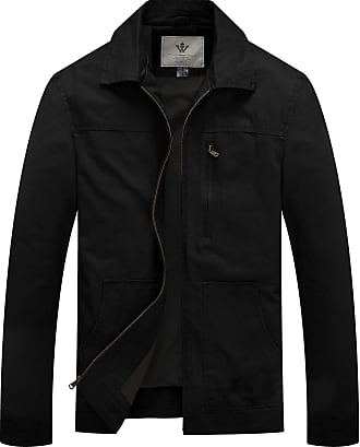 WenVen Mens Lapel Army Style Jacket Black Small