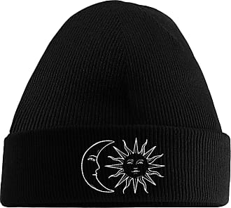 HippoWarehouse Moon and Sun Embroidered Beanie Hat Black
