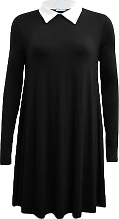 ZEE FASHION New Womens Ladies Long Sleeve Plus Size Peter pan Collar Swing Dress. UK 8-26 Black