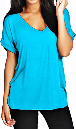 Crazy Girls Womens Oversized Fit Loose Baggy Short Sleeve V-Neck Batwing Top T-Shirt UK8-24 (16/18, Turquoise)