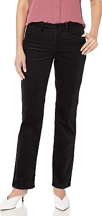 NYDJ Womens Petite Marilyn Straight Leg Velvet Jeans, Black, 4