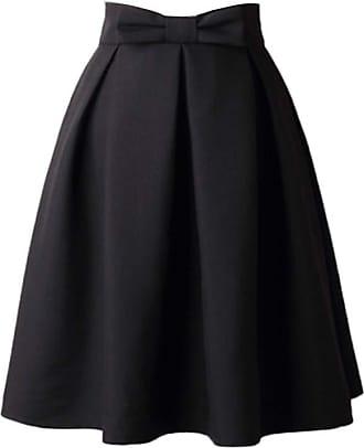 FNKDOR Womens Plain Soft Stretch Vintage Dress Ladies Elasticated Waistband Knee Length Full FLA Swing Skater Midi Skirt Black