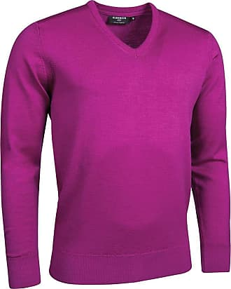 Glenmuir Mens MKM7216VN V Neck Merino Wool Golf Sweater Fuchsia XL