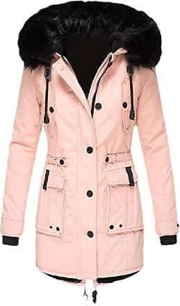 VITryst Womens Winter Coats Hooded Warm Faux Fur Lined Jacket Outwear Parka Anroak Long Coats,Pink,XX-Small